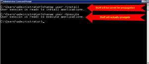 change user install terminal server